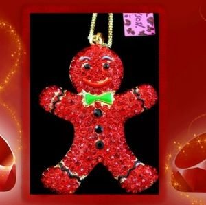 Betsey Johnson Gingerbread Man Necklace